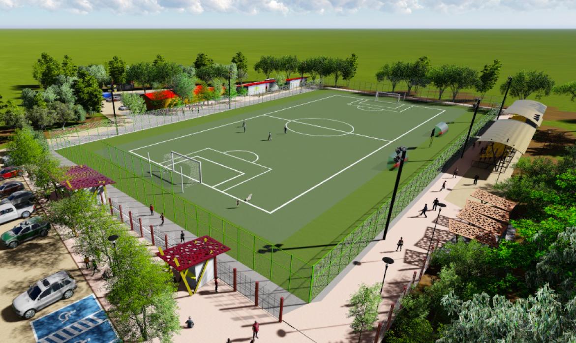 Diseño Cancha de Futbol Cañas 1, Comuna de Illapel